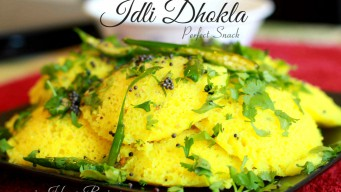 Coriander covered Idli dhokla