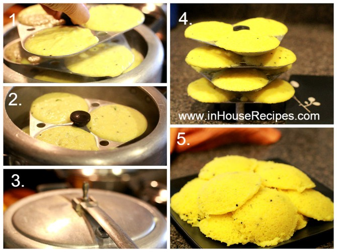 Steam Idli in cooker for Idli dhokla
