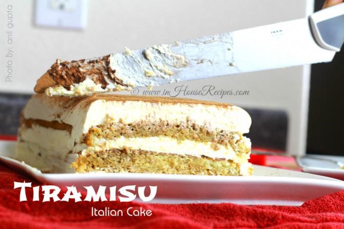 Cutting Tiramisu cake pieces