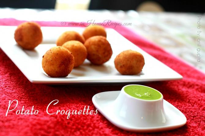 Serve Potato croquettes with Coriander Chutney