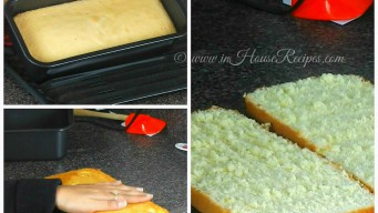 Slice cake base into 2 pieces