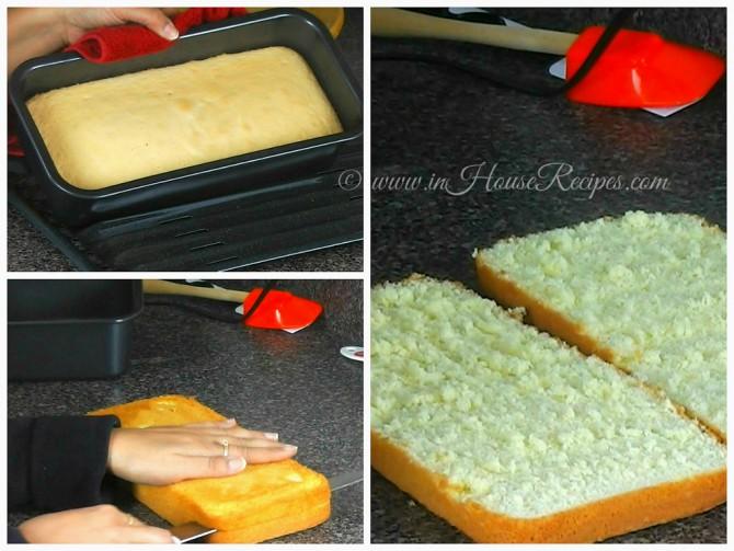 Slice cake base into 2 pieces