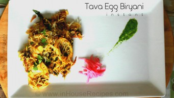Egg biryani on tava from steamed rice