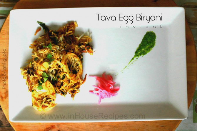 Egg biryani on tava from steamed rice
