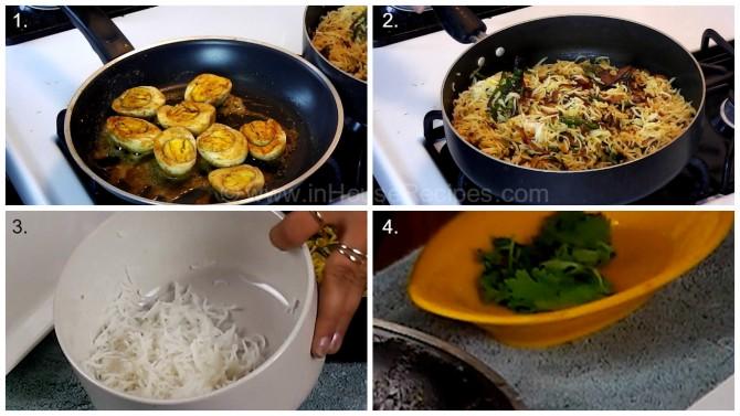 Ingredients for serving tava egg biryani