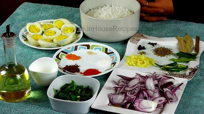 Ingredients for tava egg biryani