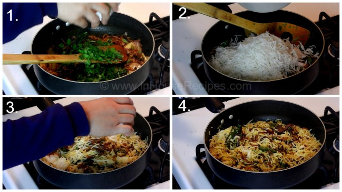 Mix steamed rice with Onion tadka for Egg Biryani