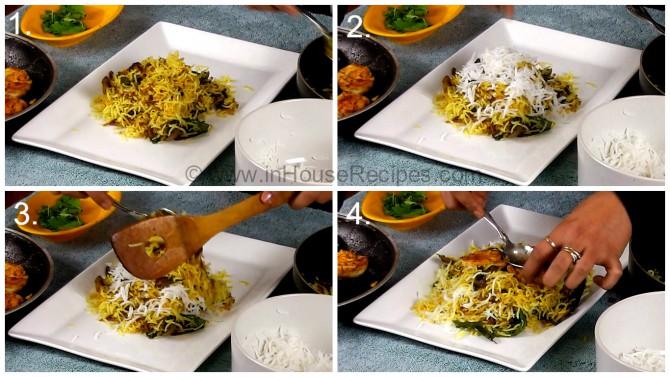 Serving tava Egg Biryani