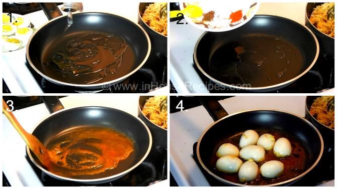 Shallow fry Eggs for tava biryani